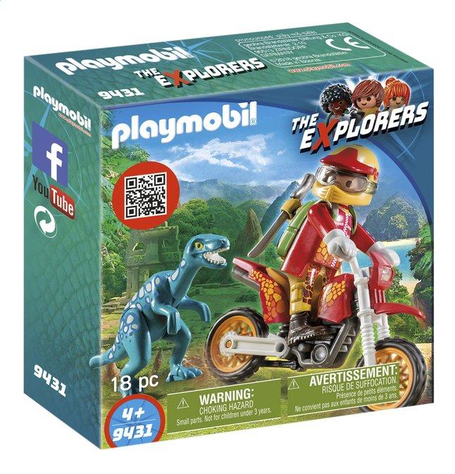PLAYMOBIL The Explorers 9431 Motorcrosser met raptor
