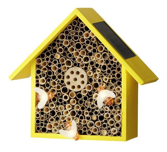 Hôtel pour insectes avec éclairage solaire jaune