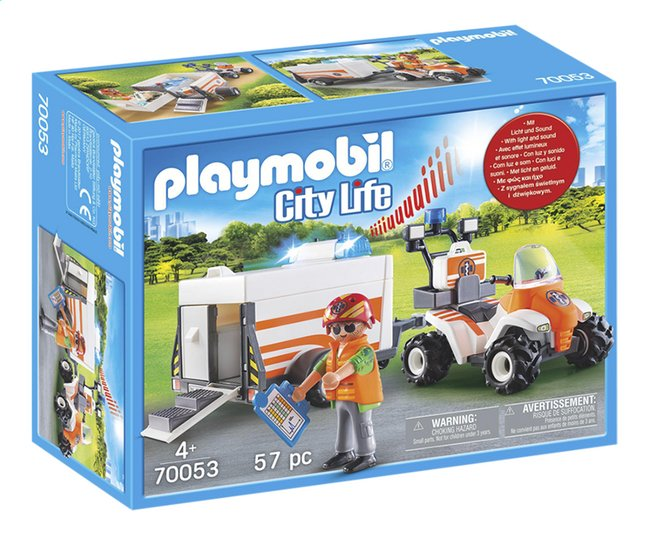 PLAYMOBIL City Life 70053 Eerste hulp quad met trailer