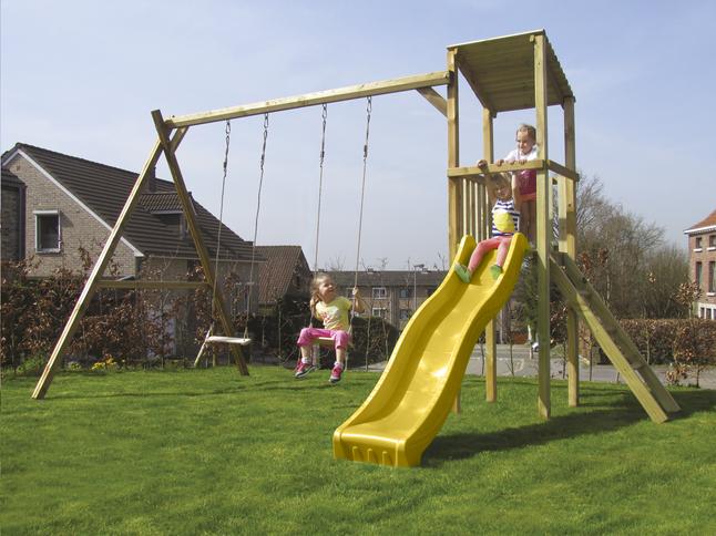 Afbeelding van BnB Wood schommel met speeltoren Diest met gele glijbaan from DreamLand