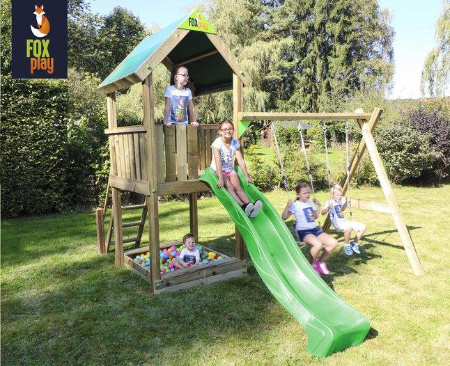 Afbeelding van Fox play schommel met speeltoren Riverside met appelgroene glijbaan from DreamLand
