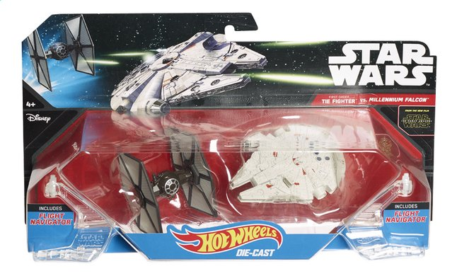 Image pour Hot Wheels vaisseaux spatiaux Star Wars TIE Fighter vs Millenium Falcon ! à partir de DreamLand
