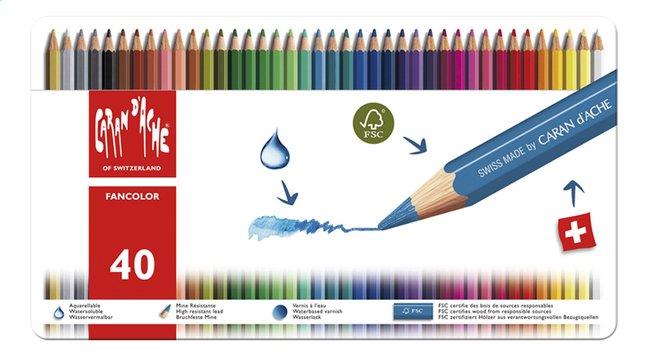 Caran d'Ache crayon de couleur Fancolor Aquarel - 40 pièces