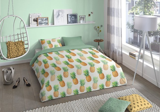 good morning housse de couette ananas coton 240 x 220 cm. Black Bedroom Furniture Sets. Home Design Ideas