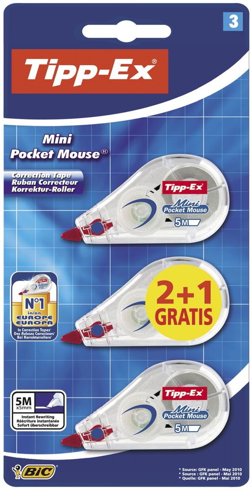 Tipp-Ex correctieroller Mini Pocket Mouse - 3 stuks