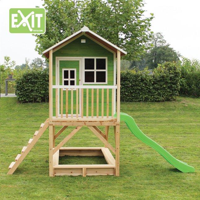 Afbeelding van EXIT houten speelhuisje Loft 500 groen from DreamLand