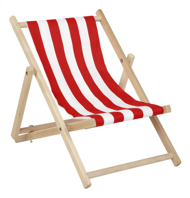 Pinolino chaise de plage Linus rayée kids rouge/blanc