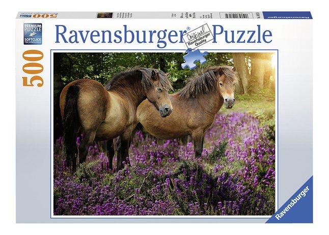 Afbeelding van Ravensburger puzzel Pony's tussen de hei from DreamLand