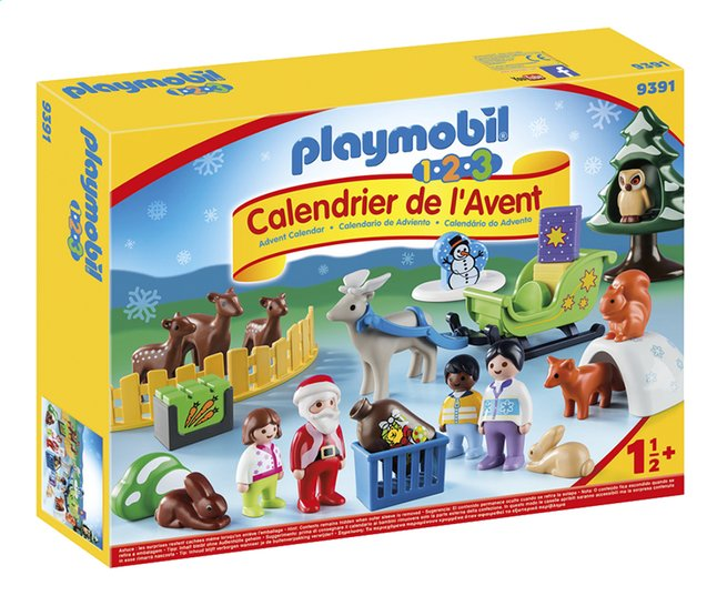 Calendrier De Lavent Pour Animaux.Playmobil 1 2 3 9391 Calendrier De L Avent Pere Noel Et Animaux De La Foret