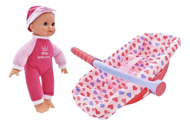 Dolls World poupée souple Issy et son siège-auto rose