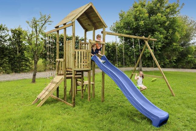 Image pour BnB Wood portique Perk Adventure avec toboggan bleu à partir de DreamLand