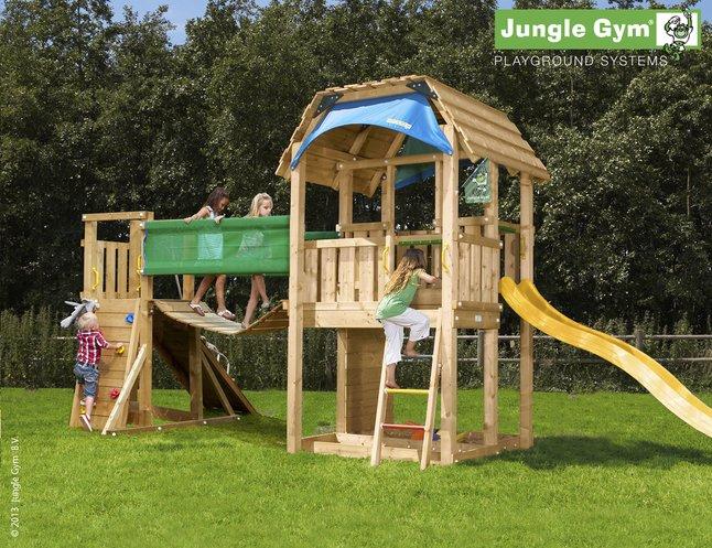 Image pour Tour de jeu en bois Barn avec pont et toboggan jaune à partir de DreamLand