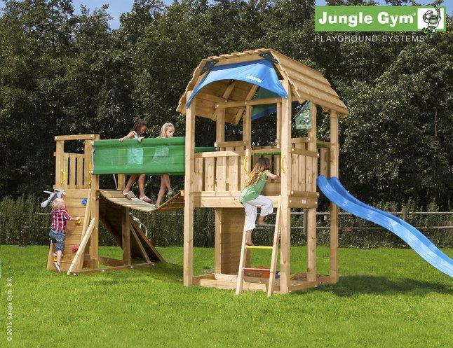 Afbeelding van Houten speeltoren Barn met brug en blauwe glijbaan from DreamLand