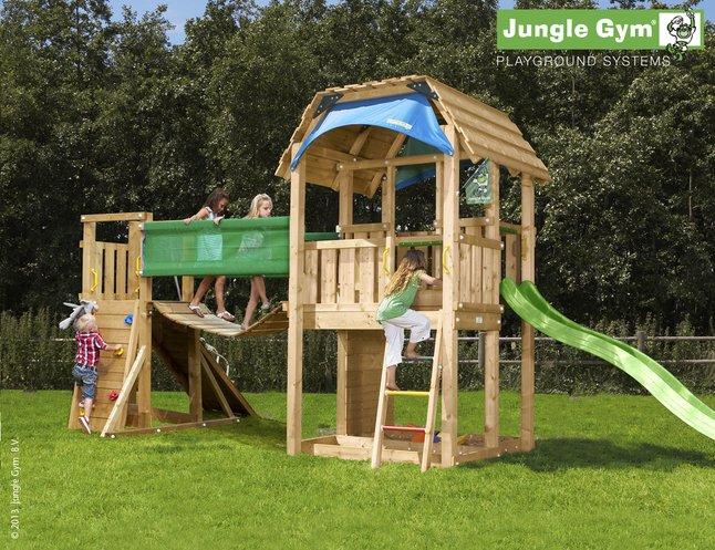 Afbeelding van Houten speeltoren Barn met brug en groene glijbaan from DreamLand