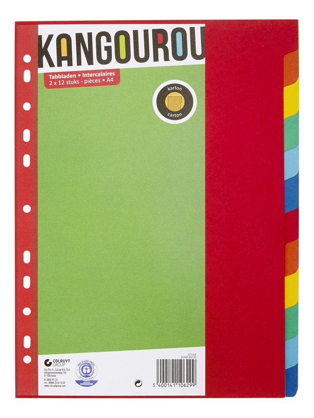Kangourou tabbladen van karton A4 - 24 stuks