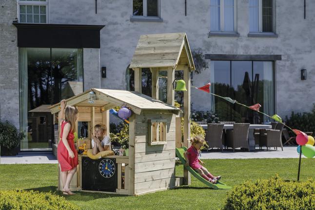 Afbeelding van Blue Rabbit houten speelhuisje met toren Lookout 60 from DreamLand