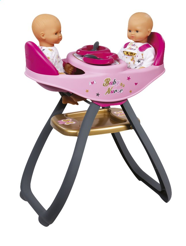 smoby chaise haute jumeaux 2 en 1 pour poup es baby nurse. Black Bedroom Furniture Sets. Home Design Ideas