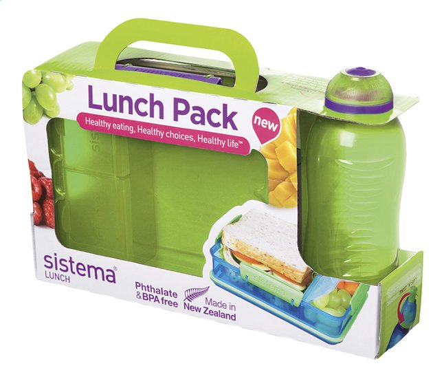 Afbeelding van Sistema brooddoos en drinkfles 330 ml Lunch Pack groen from DreamLand