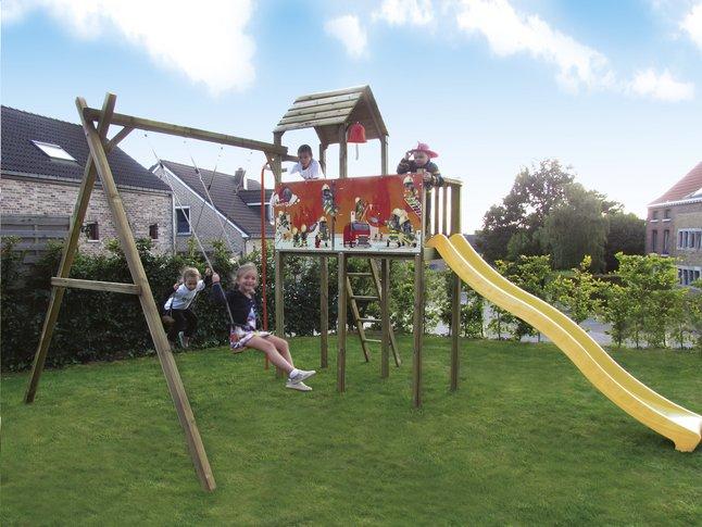 Image pour BnB Wood portique avec tour de jeu Fireman et toboggan jaune à partir de DreamLand