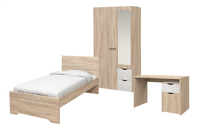 Chambre 3 éléments Young lit + bureau + armoire 2 portes