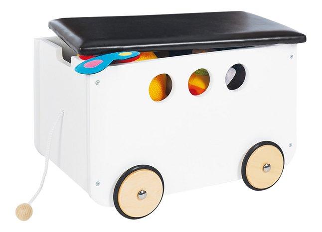 Pinolino coffre à jouets sur roulettes Jim blanc
