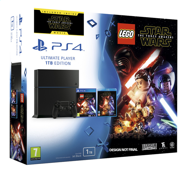 Afbeelding van PS4 console 1 TB zwart + LEGO Star Wars ENG/FR + blu-ray Star Wars: The Force Awakens from DreamLand