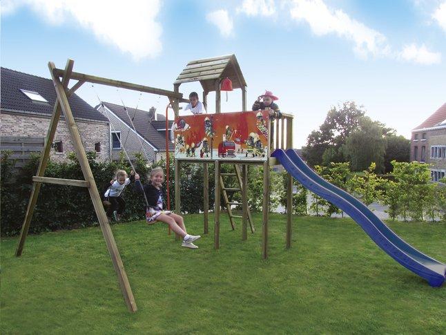Image pour BnB Wood portique avec tour de jeu Fireman et toboggan bleu à partir de DreamLand