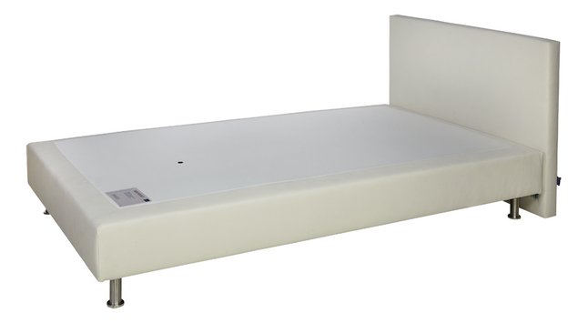 Boxspring Sophie aspect cuir ivoire