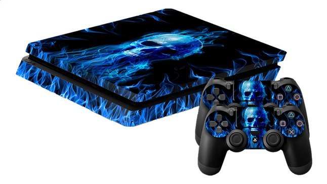 Afbeelding van PS4 Slim console skin + 2 controllers skins Fire Skull from DreamLand