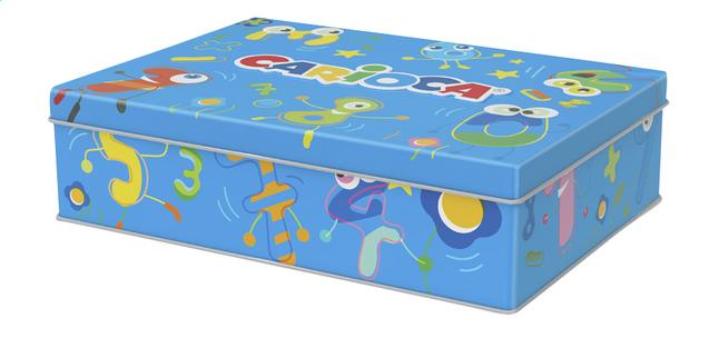 Carioca feutres dans une boîte en métal bleu