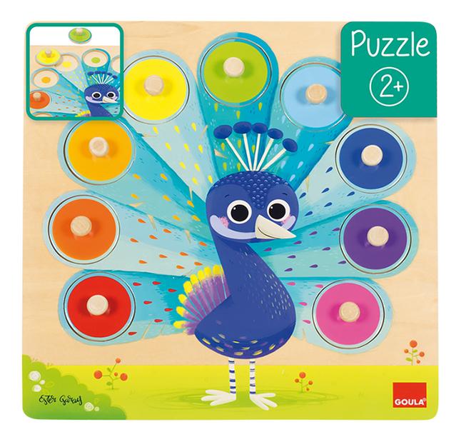 Goula puzzle à boutons en bois Paon