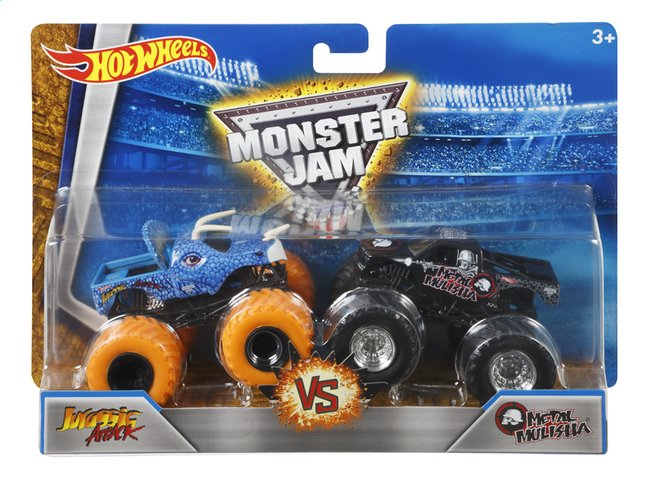 Afbeelding van Hot Wheels Monster Truck Demolition Doubles Jurassic Attack VS Metal Mulisha from DreamLand