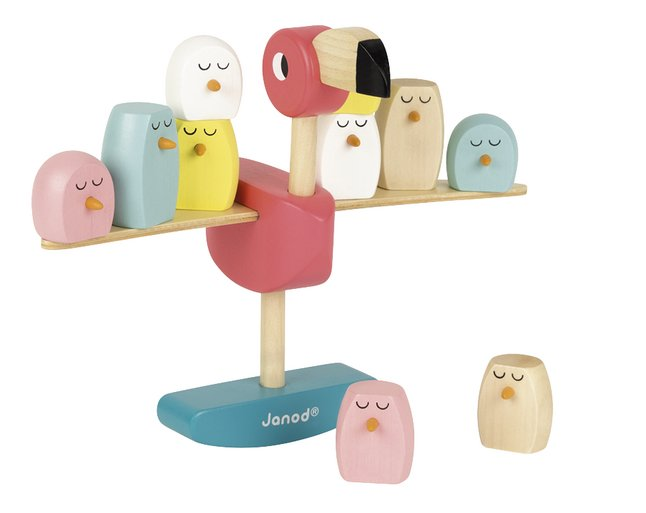 Janod houten stapelblokken / evenwichtspel Roze flamingo