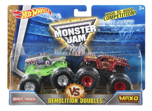 Afbeelding van Hot Wheels Monster Truck Demolition Doubles Grave Digger VS Max-D from DreamLand