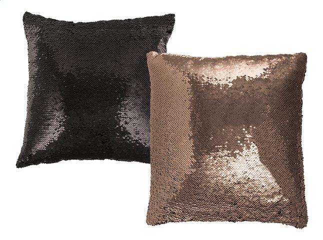 Afbeelding van Kussen met strijkpailletten zwart/roze from DreamLand
