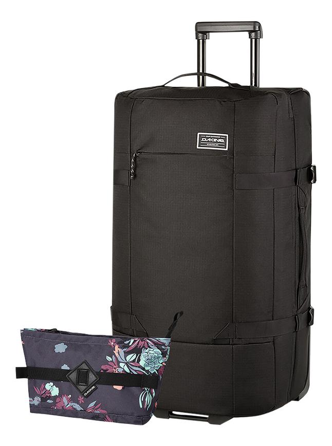 Dakine zachte reistrolley Split Roller EQ Black 66 cm + toiletzak Dopp Kit L Perennial