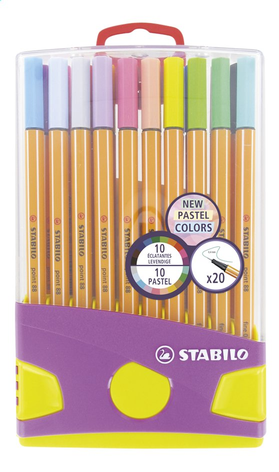 STABILO viltstift Point 88 Pastel - 20 stuks