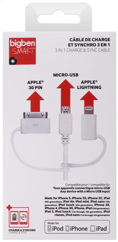 Afbeelding van Bigben 3-in-1 kabel: micro-USB, Apple Lightning en 30 pin from DreamLand