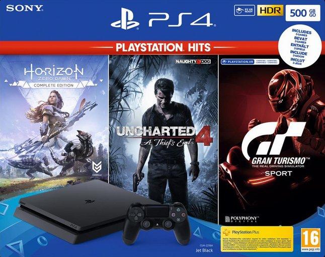 PS4 Slim 500 GB + Horizon Zero Dawn Complete Edition + Uncharted 4 A Thief's End + Gran Turismo Sport