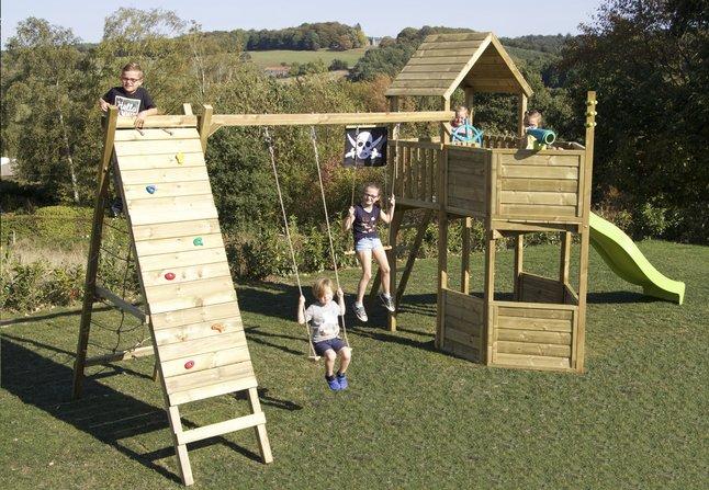 Afbeelding van BnB Wood speeltoren Nieuwpoort Commando Piraat met appelgroene glijbaan from DreamLand