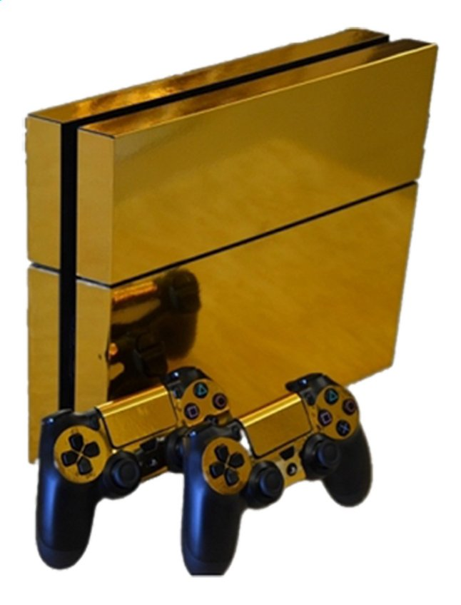 Afbeelding van PS4 console skins + 2 controllers skins Gold Chrome from DreamLand