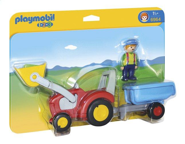 Afbeelding van PLAYMOBIL 1.2.3 6964 Boer met tractor en aanhangwagen from DreamLand