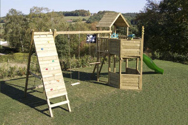 Afbeelding van BnB Wood speeltoren Nieuwpoort Commando Piraat met groene glijbaan from DreamLand
