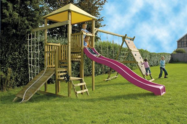Afbeelding van BnB Wood complete schommelset Zolder met paarse glijbaan from DreamLand
