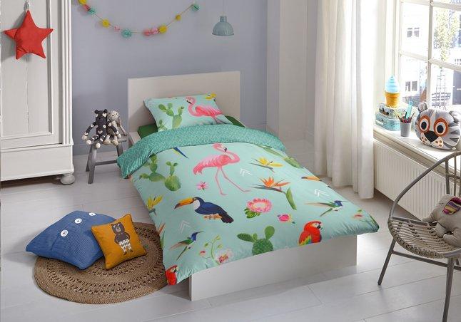 Image pour Good Morning Housse de couette Flamingo Tropics coton Lg 140 x L 220 cm à partir de DreamLand
