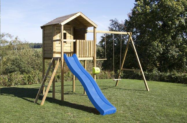 Afbeelding van BnB Wood schommel met speelhuisje Lucas en blauwe glijbaan from DreamLand