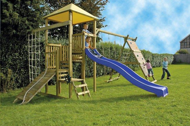 Image pour BnB Wood ensemble portique complet Zolder avec toboggan bleu à partir de DreamLand