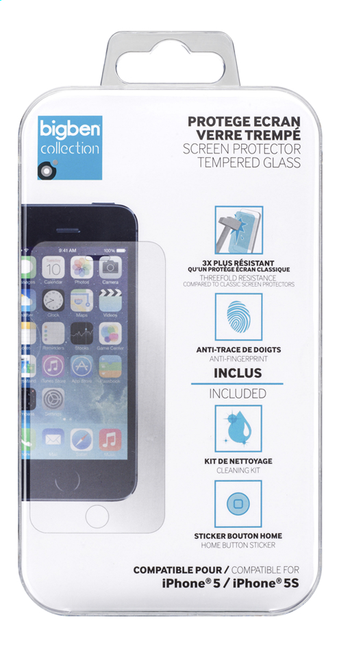 Afbeelding van bigben screen protector Tempered Glass iPhone 5/5S from DreamLand