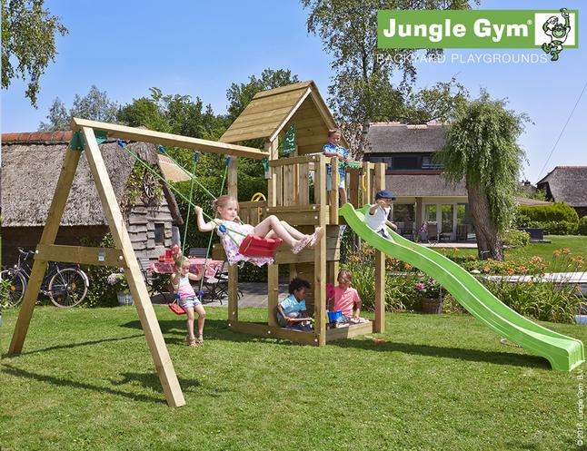 Image pour Jungle Gym portique en bois Cubby avec toboggan vert à partir de DreamLand