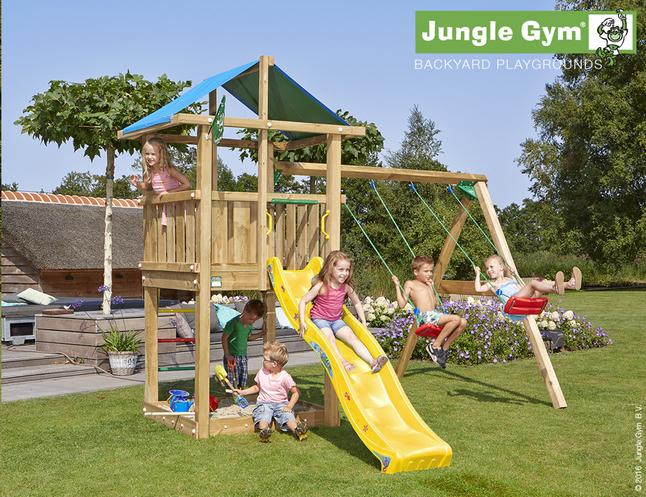 Image pour Jungle Gym portique en bois De Hut avec toboggan jaune à partir de DreamLand